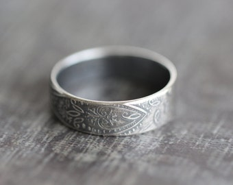 PAISLEY No. 1:  Paisley Ring, Wedding Band, Sterling Silver, Men, Women, His and Hers. Rustic, Boho, Wedding Ring, Promise, Wide Band