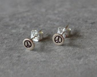 Itty Bitty Peace Sign Stud Earrings Reclaimed Sterling Silver Post Earrings Hand Stamped Eco Friendly Hippie Boho Jewelry