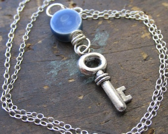 Blue Moon | necklace | Blue Ceramic Tile bead and Antique Silver key charm with Sterling Silver Chain.