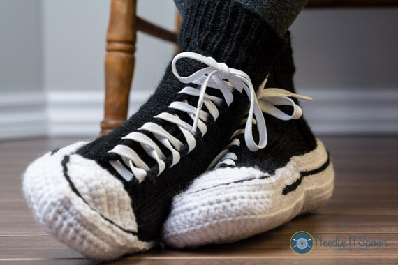 Crochet Pattern For Converse Slippers : Converse slippers crochet converse men women adult handmade