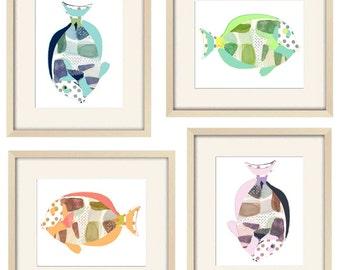 bathroom art fish art kids bathroom wall art beach art kids bathroom decor abstract art ocean