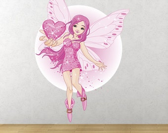GS27 - Large Love Fairy pink heart - Removable wall decal - Nursery Wall Sticker - Girls wall stickers