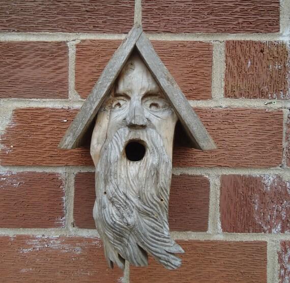 Old man face birdhouse Garden decor Wooden birdhouseOld Man Face Bird Houses