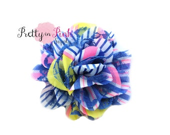 """Royal/Pink/Yellow Striped Small Shredded Lace Chiffon Flower 3.5"""" choose quantity..Lace Flowers.....Lace Flower"""