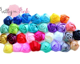 "GRAB BAG- Satin Rolled Rosettes...You Choose Quantity...Rolled Rosettes...Mini Rolled Rosettes...1.5"" Rosettes"