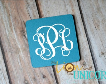 Turquoise Neoprene Coaster - set of 4 monogrammed personalized