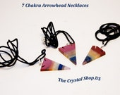 7 Chakra Healing Crystal Arrowhead with Black Cord Charged with Reiki Energies!