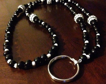 Black & White beaded lanyard