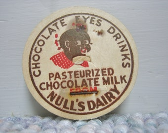 RARE 5 Vintage Black Americana Chocolate Milk  Milk Bottle Tops/Caps Cardboard Mixed Media
