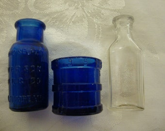 3 Small Advertising Medical Bottles