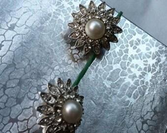 Pearl Earrings, Marvella Signed Brooch and Matching Earrings Vintage Wonderful Set