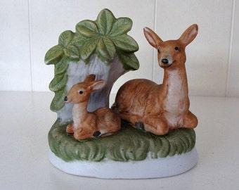 UC&GC Resting Doe And Fawn Ceramic Deer Figurine