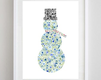 Snowman Watercolor Print - Christmas Art - Holiday Art - Snowman Wall Decor - Floral Snowman
