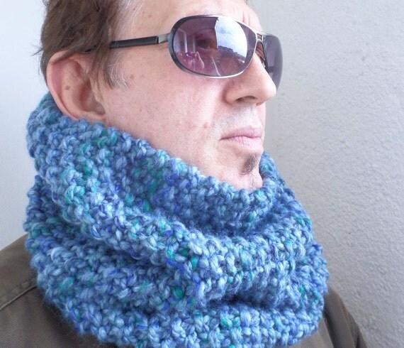 Tube Cowl Knitting Pattern : Neck Warmer Denim Blue Unisex Tube Scarf Cowl by INAfashion