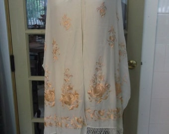 Vintage Silky Evening Shawl Scarf