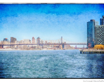 Queensborough Bridge, LIC, Queens, QueensBoro, Photography, Bridge, Blue, Water, Skyline, FREE SHIPPING!