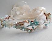 Aquamarine-Mermaid Sea Shell Crown-Sea Shell Flower Crown-Beach Wedding Crown-Crown of Sea Shells