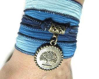 Blue Tree Of Life Silk Wrap Bracelet Yoga Jewelry Silk Ribbon Bracelet Spiritual Jewelry Wrapped Bracelet Birthday Unique Christmas Gift