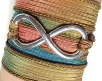 Infinity Bracelet Silk Wrap Bracelet Infinity Jewelry Yoga Jewelry Bohemian Jewelry Wrap Bracelet Spiritual Karma Jewelry Mother's Day Gift
