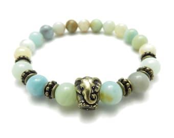 Sacred Elephant Mala Bracelet Yoga Jewelry Elephant Wrist Mala Amazonite Meditation Healing Mala Unique Birthday Christmas Stoking Stuffer