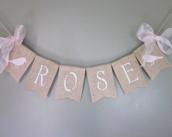 Girl Name Banner - Rustic Burlap Name Banner - Vintage Style Bird Image Girl Name Bunting - Bird Silouette Girl Name Bunting - Personalized