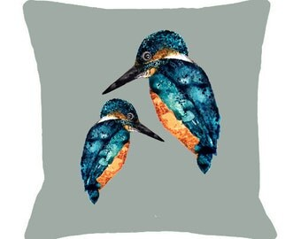 Kingfisher Illustration Cushion Cover - Bird Cushion Kingfisher Print,  Printed Cushion Bird Pillow