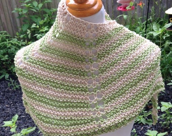 Hand Knit Shawl in Green and Cream Cotton