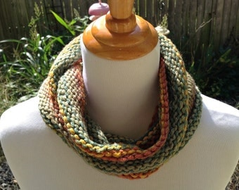 Hand Knit infinity scarf or Cowl in Fall Colored Stripes
