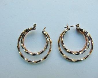 14 Karat Gold Double Hoop Twisted Earrings