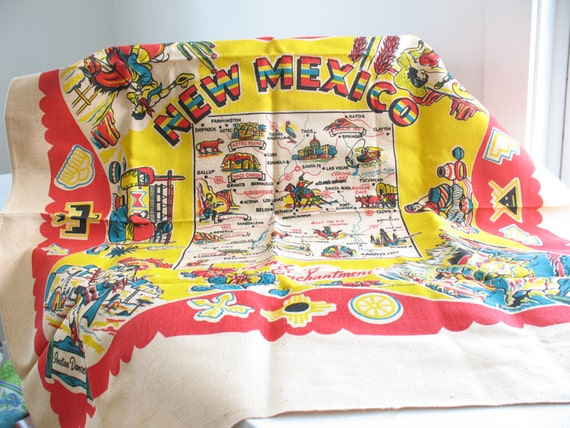 New mexico land of enchantment the gift of travel - Vintage New Mexico Souvenir Tablecloth Southwest Cactus