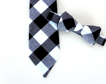 Baby bow tie, boys neck tie, black tie for toddlers, boys black tie, little boy tie, kids bow tie, gingham neck tie, plaid tie for boys