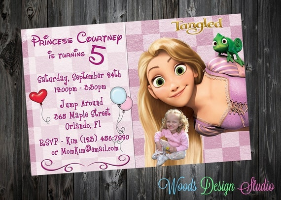 Custom Tangled Rapunzel Inspired Birthday Party Invitations - DIY Printable File