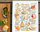 cheese print. illustration. Kitchen decor. Food art. gourmet. cheese lover. home decor. Fromage. Gift for cook. Artisanal.