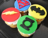 DC Edible Super Hero Cake or Cupcake Toppers - Superman, Flash, Green Lantern, and Batman 12 qty for a super hero party