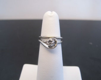 Diamond and 14k White Gold Vintage Wedding and Engagement Ring Set