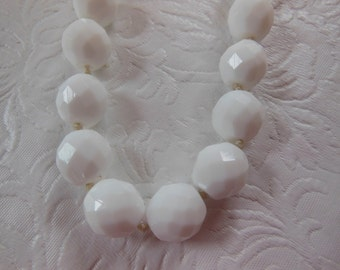 Vintage Faceted Milk Glass Beaded Necklace - LAST CHANCE !