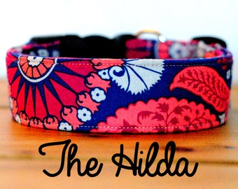 "Girly Coral Red Pink and Navy Medallion Dog Collar ""The Hilda"""