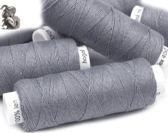 Linen Thread Dark Grey 5 spools hand & machine quilting sewing craft lace jewelry