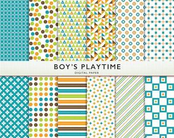 Digital Paper - Boy's Playtime  - Blue Orange Green Brown - Scrapbooking Card Making  Personal Commercial G7782