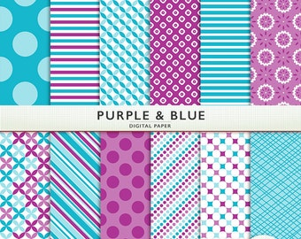Purple & Blue  Digital Paper -  Scrapbooking -  Digital Craft - for Personal and Commercial - G7819