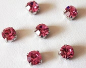 6mm Rose Chaton Montees, Set of 6, October Birthstone, 1028, Sew On Rhinestones, SS29, Choice of Settings, Sew On Chatons