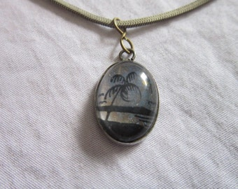 Vintage Strong Sterling Silver 16 Inch Chain Necklace & Sterling Pendant Palm Tree Wow