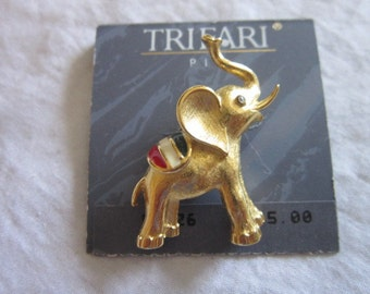 Vintage Designer Trifari Political Elephant Red White Blue Brooch Republican