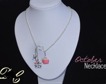 Your OCTOBER Birthday Necklace - Cupcake with candle, birthstone,letter charm and zodiac charm - Personalised (In Stock)