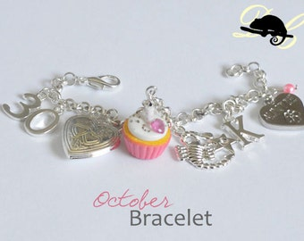 Your OCTOBER Birthday Bracelet - Cupcake with candle, birthstone,letter,locket, and zodiac charm - Personalised (In Stock)
