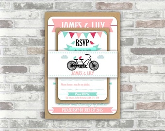 PRINTABLE Print your own personalised WEDDING invitation BUNDLE - digital files - bunting, tandem bicycle, vintage bike, pink mint green diy