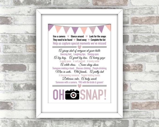 INSTANT DOWNLOAD - I Spy 'Oh Snap' Wedding Printable Digital Art Print File - Lavender, lilac, blush bunting - Camera/photo table decor game