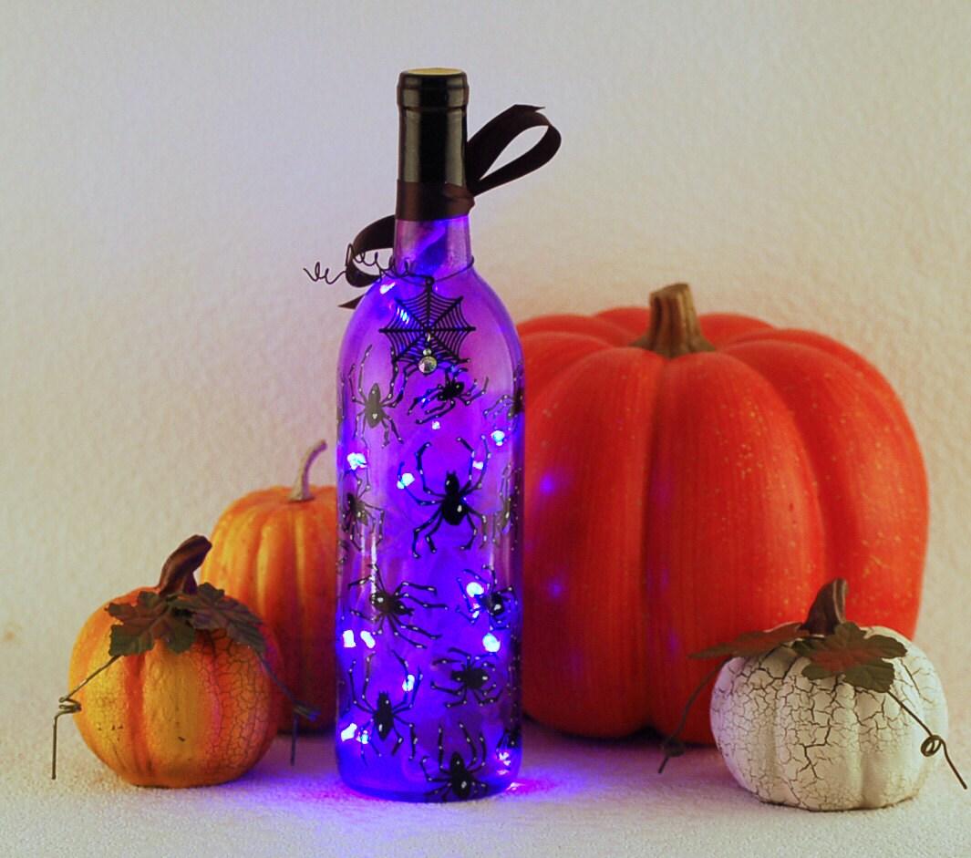 Halloween wine bottle light hand painted spiders by VauVicStudio