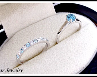 Blue Aquamarine And Diamond Wedding Ring Set,Blue Engagement Ring Set,Diamond Wedding Band,14k White Gold Half Eternity Band set,Unique Ring