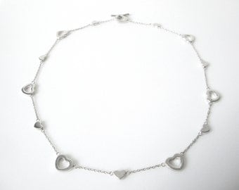 Vintage Sterling Silver Necklace With Hearts Linked On Chain